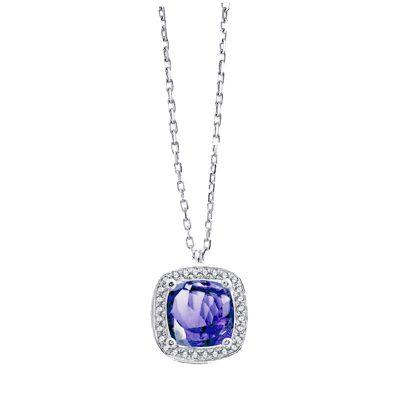 Collier Tanzanite, diamants et or blanc