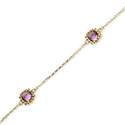 Bracelet Femme Argent Doré et Pierres Violettes