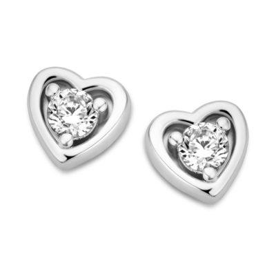 Boucles d'oreilles Femme Coeur Argent et Oxyde