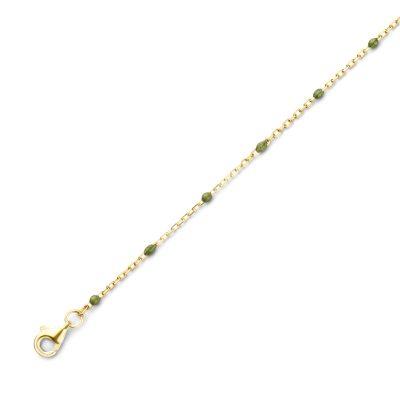 Bracelet Argent Doré Boules Email Vert